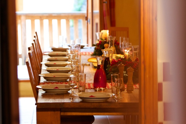 Our guests dine together around one huge table